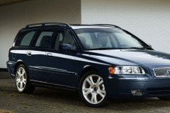 Zila Volvo V70 universāla priekšpuse, no sāniem